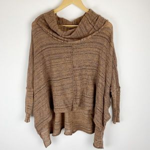 Free People Cowl Neck Oversized Poncho Sweater XS